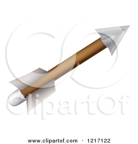 Clipart of an Archery Arrow with Feather Fletchings - Royalty Free Vector Illustration by AtStockIllustration
