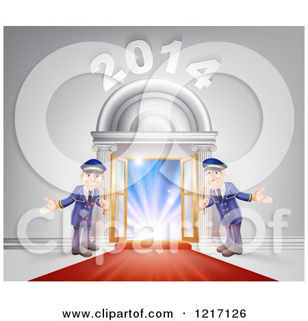 Clipart of a New Year 2014 Venue Entrance with a VIP Red Carpet and Welcoming Friendly Doormen - Royalty Free Vector Illustration by AtStockIllustration