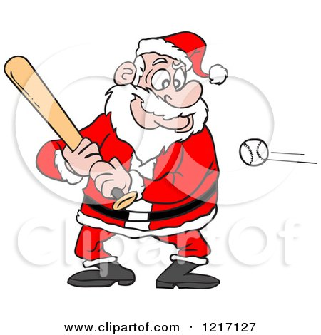 Clipart of a Sporty Santa Baseball Batter - Royalty Free Vector Illustration by LaffToon