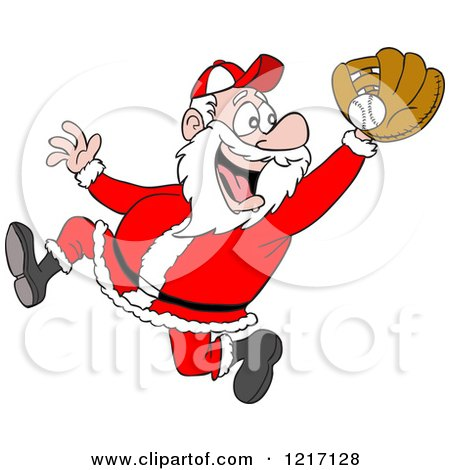 Clipart of a Sporty Santa Baseball Player Catching - Royalty Free Vector Illustration by LaffToon