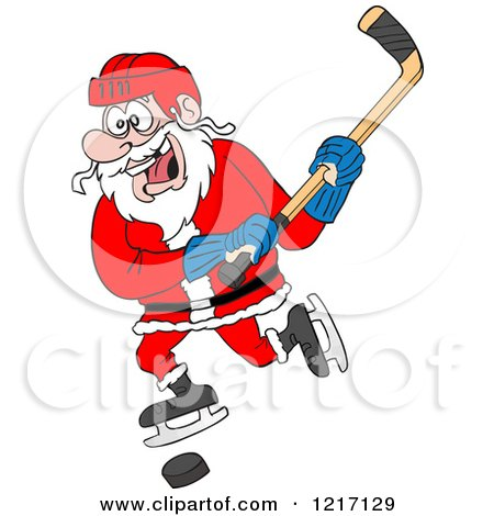 Clipart of a Sporty Santa Hockey Player - Royalty Free Vector Illustration by LaffToon