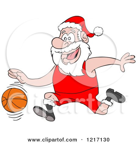 Clipart of a Merry Christmas Greeting over Santa by a Bbq ...