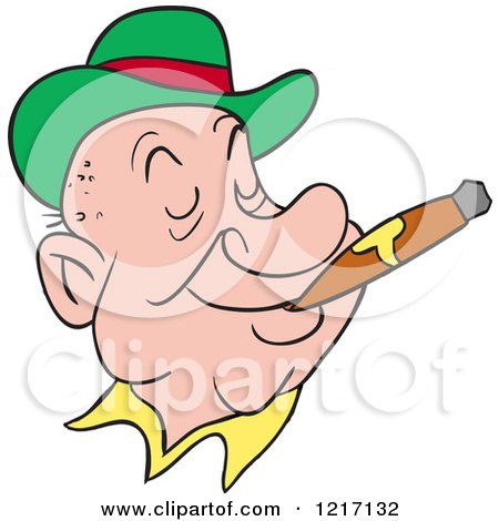Clipart of a Happy Irishman Wearing a Derby Hat and Smoking a Cigar - Royalty Free Vector Illustration by LaffToon
