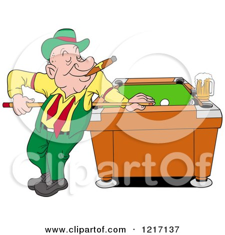 Clipart of a Happy Irish Man in a Derby Hat, Smoking a Cigar and Playing Pool with a Beer - Royalty Free Vector Illustration by LaffToon