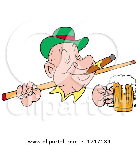 Clipart of an Irish Man Wearing a Derby Hat, Smoking a Cigar, Holding a Beer and a Pool Cue Stick - Royalty Free Vector Illustration by LaffToon