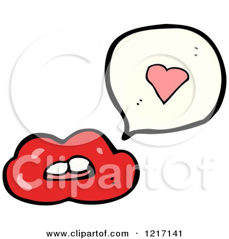 Cartoon of Red Lips Speaking - Royalty Free Vector Illustration by lineartestpilot