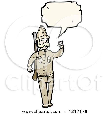 Cartoon of an Old Fashioned Soldier Speaking - Royalty Free Vector Illustration by lineartestpilot
