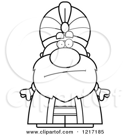 Clipart of a Black and White Bored Sultan - Royalty Free Vector Illustration by Cory Thoman