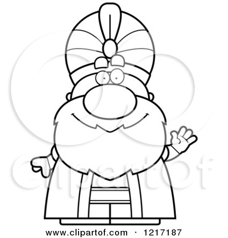 Clipart of a Black and White Friendly Waving Sultan - Royalty Free Vector Illustration by Cory Thoman