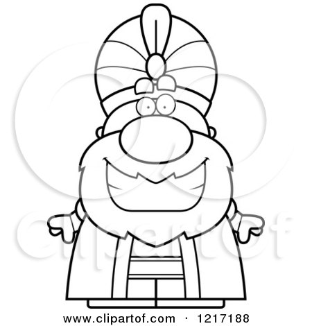 Clipart of a Black and White Happy Grinning Sultan - Royalty Free Vector Illustration by Cory Thoman