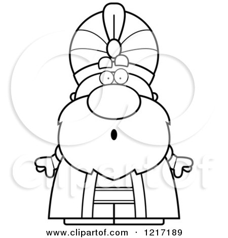 Clipart of a Black and White Surprised Sultan - Royalty Free Vector Illustration by Cory Thoman