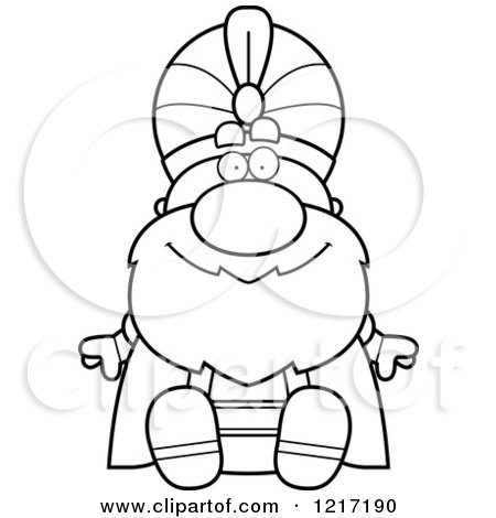 Clipart of a Black and White Happy Sitting Sultan - Royalty Free Vector Illustration by Cory Thoman