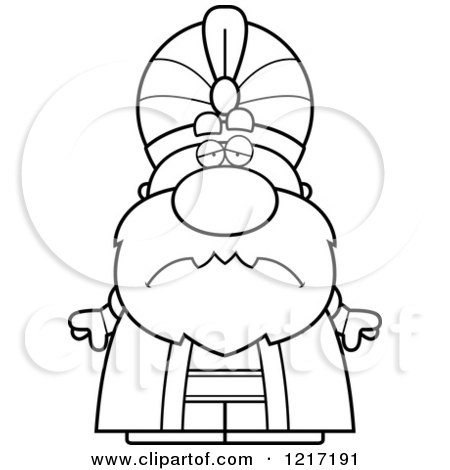 Clipart of a Black and White Depressed Sultan - Royalty Free Vector Illustration by Cory Thoman