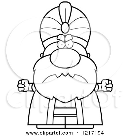 Clipart of a Black and White Mad Sultan - Royalty Free Vector Illustration by Cory Thoman