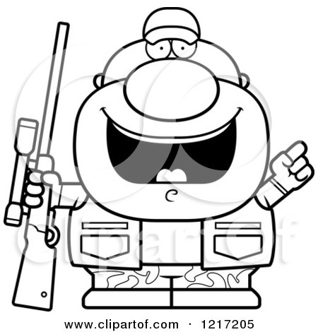 Clipart of a Black and White Hunter Man with an Idea - Royalty Free Vector Illustration by Cory Thoman