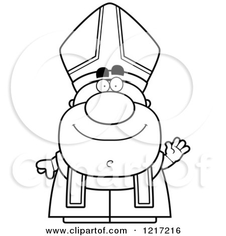 Clipart of a Black and White Waving Pope - Royalty Free Vector Illustration by Cory Thoman