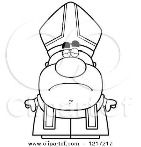 Clipart of a Black and White Depressed Pope - Royalty Free Vector Illustration by Cory Thoman