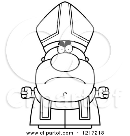 Clipart of a Black and White Mad Pope - Royalty Free Vector Illustration by Cory Thoman