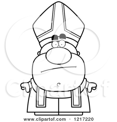Clipart of a Black and White Bored Pope - Royalty Free Vector Illustration by Cory Thoman