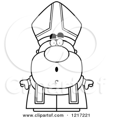 Clipart of a Black and White Surprised Pope - Royalty Free Vector Illustration by Cory Thoman