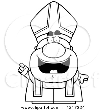 Clipart of a Black and White Happy Pope with an Idea - Royalty Free Vector Illustration by Cory Thoman