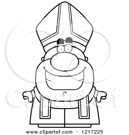 Clipart of a Black and White Happy Grinning Pope - Royalty Free Vector Illustration by Cory Thoman
