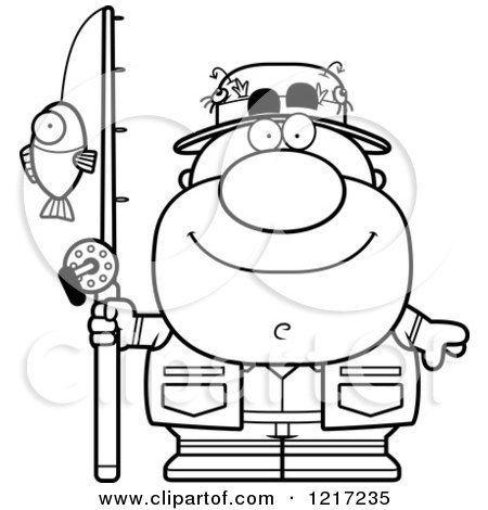 Clipart of a Black and White Happy Fisherman - Royalty Free Vector Illustration by Cory Thoman