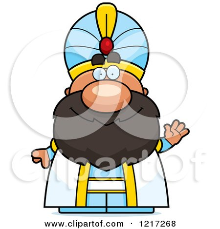 Clipart of a Friendly Waving Sultan - Royalty Free Vector Illustration by Cory Thoman