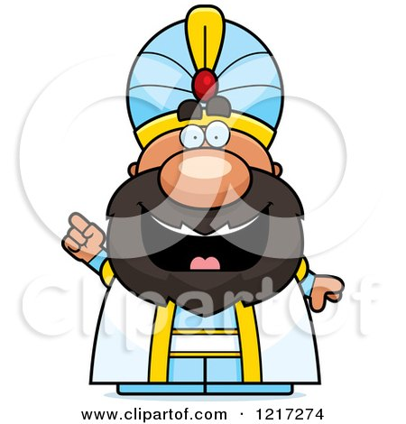 Clipart of a Smart Sultan with an Idea - Royalty Free Vector Illustration by Cory Thoman