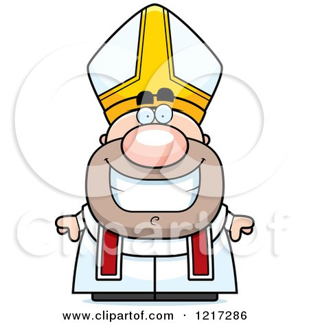 Clipart of a Happy Grinning Pope - Royalty Free Vector Illustration by Cory Thoman