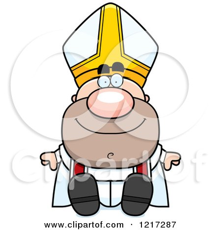 Clipart of a Happy Sitting Pope - Royalty Free Vector Illustration by Cory Thoman