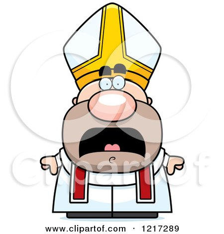 Clipart of a Scared Pope - Royalty Free Vector Illustration by Cory Thoman