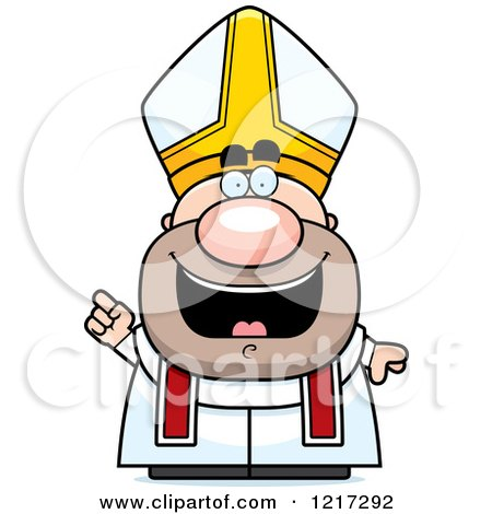 Clipart of a Happy Pope with an Idea - Royalty Free Vector Illustration by Cory Thoman