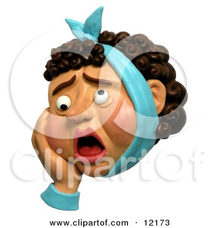 Clay Sculpture Clipart Woman With A Bad Tooth Ache - Royalty Free 3d Illustration  by Amy Vangsgard