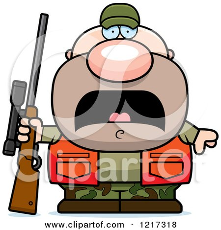 Clipart of a Scared Hunter Man - Royalty Free Vector Illustration by Cory Thoman