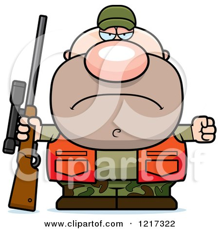 Clipart of a Mad Hunter Man - Royalty Free Vector Illustration by Cory Thoman