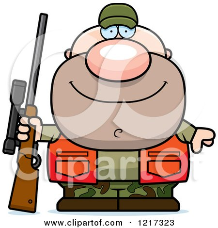 Clipart of a Cartoon Caucasian Male Hunter Sitting on a ...