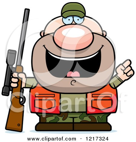 Clipart of a Hunter Man with an Idea - Royalty Free Vector Illustration by Cory Thoman