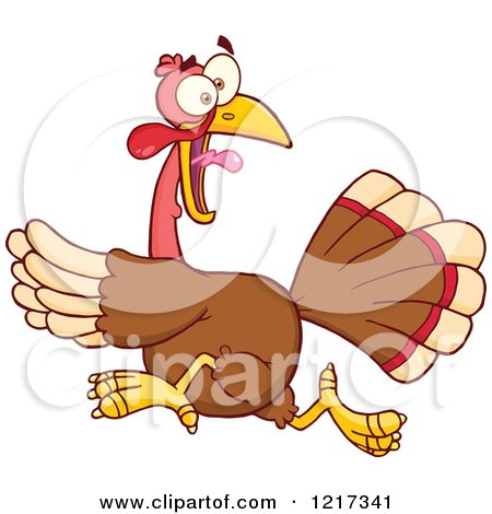 Clipart of a Scared Thanksgiving Turkey Bird Running - Royalty Free Vector Illustration by Hit Toon