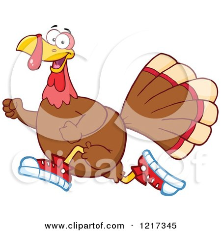 Clipart of a Thanksgiving Turkey Bird Running in Sneakers - Royalty Free Vector Illustration by Hit Toon