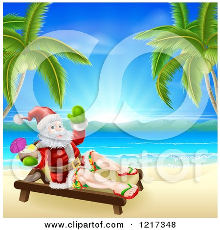 Clipart of a Relaxed Santa Holding a Cocktail and Sun Bathing on a Tropical Beach - Royalty Free Vector Illustration by AtStockIllustration
