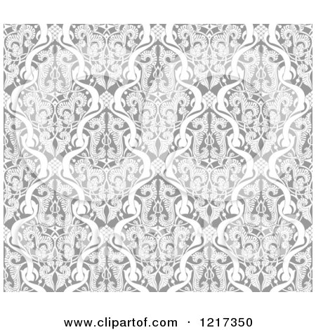 Clipart of a Grayscale Seamless Islamic Motif Pattern 2 - Royalty Free Vector Illustration by AtStockIllustration