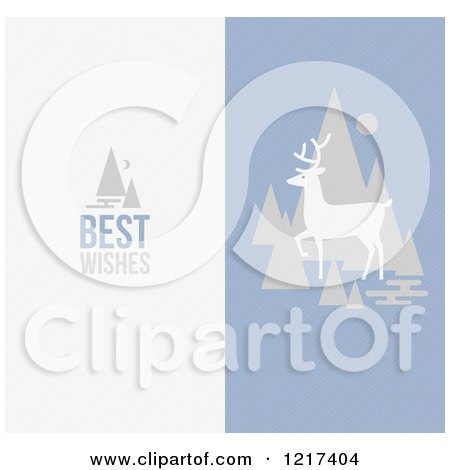 Clipart of a Deer with Trees and Best Wishes Text - Royalty Free Vector Illustration by elena