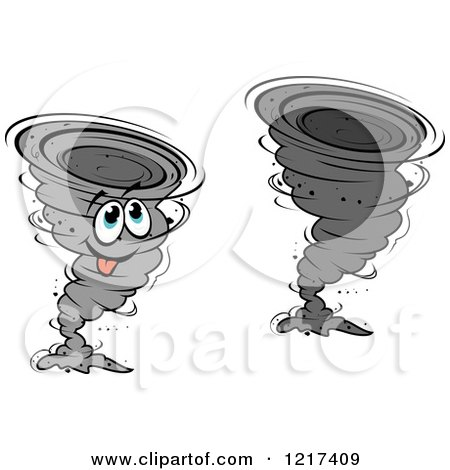 Clipart of a Grayscale Twister Tornado and Mascot - Royalty Free Vector Illustration by Vector Tradition SM