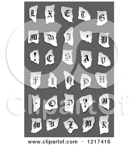 Clipart of Vintage Alphabet Letters and Symbols on Torn Paper over Gray - Royalty Free Vector Illustration by Vector Tradition SM