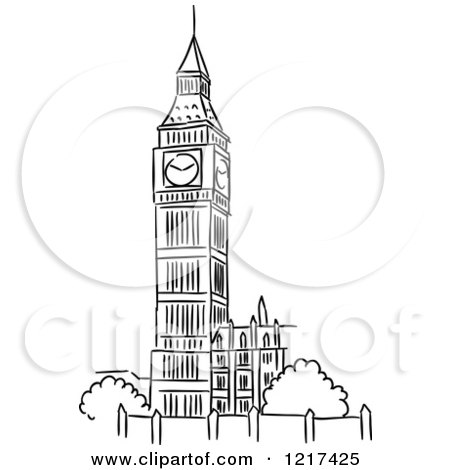 Clipart of a Black and White Sketched Big Ben Clock Tower ... | 450 x 470 jpeg 24kB