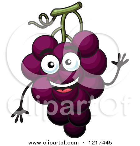 Clipart of a Waving Purple Grapes Character - Royalty Free Vector Illustration by Vector Tradition SM