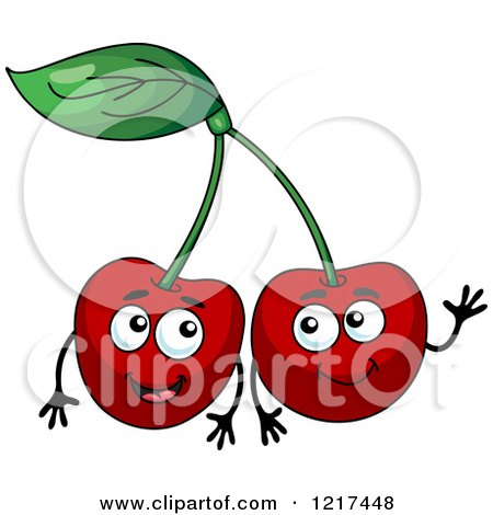 Clipart of Happy Cherry Characters - Royalty Free Vector Illustration by Vector Tradition SM