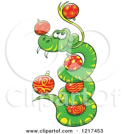 Clipart of a Happy Coiled Snake with Christmas Baubles - Royalty Free Vector Illustration by Zooco