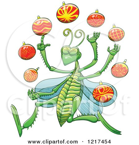 Clipart of a Happy Grasshopper Juggling Christmas Baubles - Royalty Free Vector Illustration by Zooco